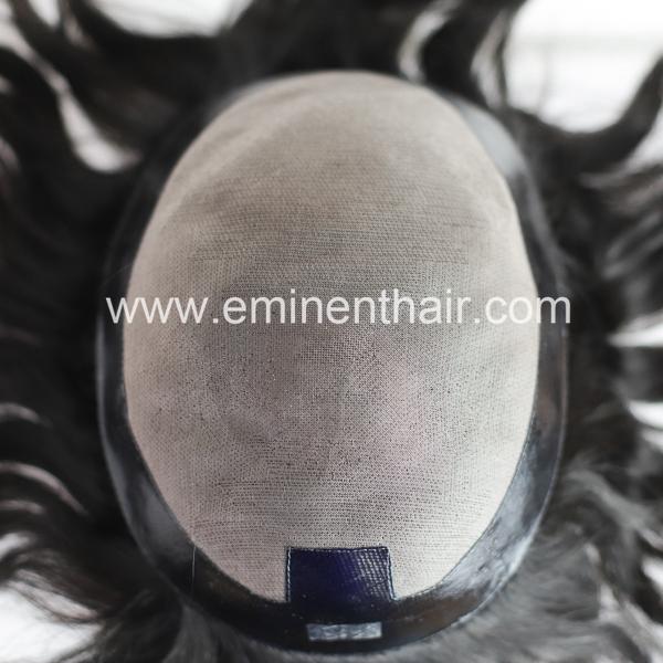 Black PU Edge Mono Human Hair Men's Hair Piece