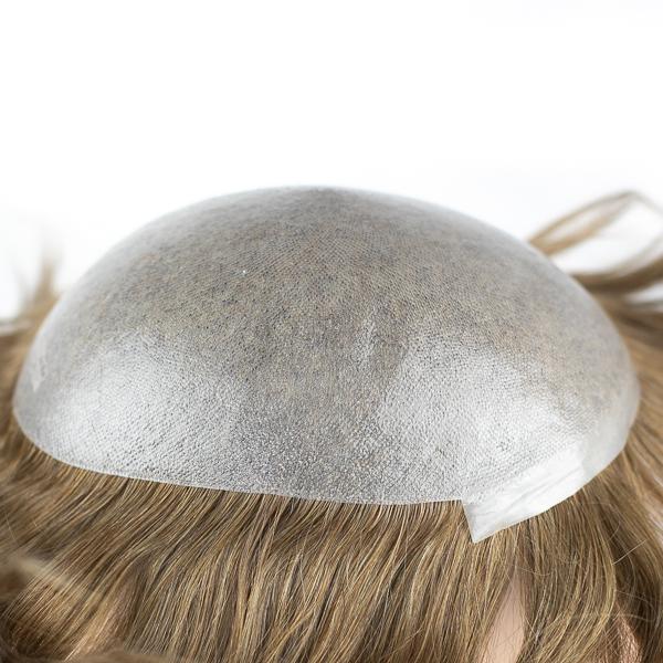 Natural Effect Human Hair Thin Skin Men's Hair Replacement