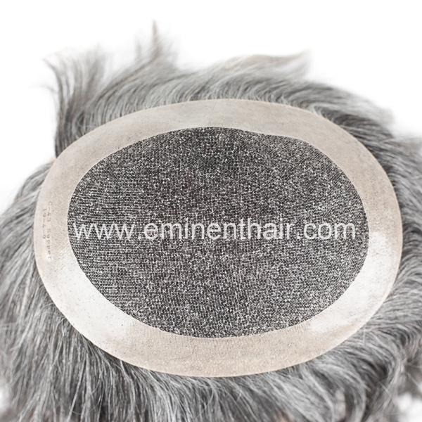 Grey Hair Mono Men's Hair Replacement