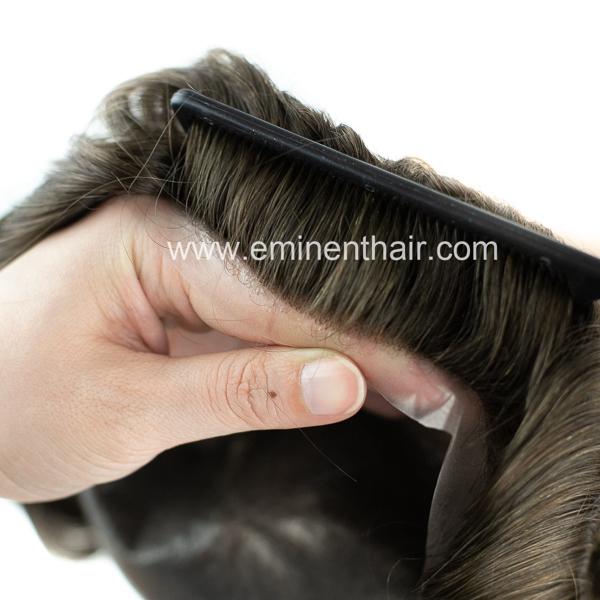 V looped Natural Hairline Human Hair Men's Skin Toupee